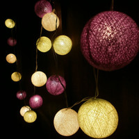 Candy Lemon Cream and Purple tone mixed Hanging stringlights for party and home decoration indoor and outdoor (20 balls/pack)