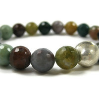 Faceted Jasper Beads Bracelet Multicolor Green by LeafAndTendril