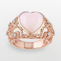 Pink Rhodium-Plated Sterling Silver Pink Opal and Diamond Accent Openwork Heart Ring