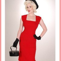Vintage Style Clothing-Bettie Page Ella Dress-50's Style Red Pencil Dress