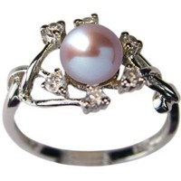 Entwining Vine Cultured Pearl Cubic Zirconia Ring in Platinum Overlay CAREFREE Sterling Silver, Lavender: Jewelry: Amazon.com