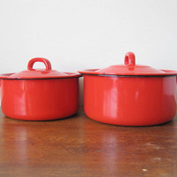 vintage redorange enamel pots with black handles by rewanted