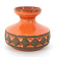 Mod Vase  Orange and Brown Diamond Pattern by colorsoulartistry