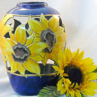 Ceramic Large Sunflower Vase by GrapeVineCeramicsGft on Etsy