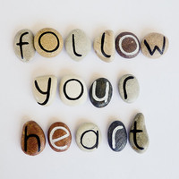 15 Magnets Letters, Follow Your Heart, Beach Pebbles, Inspirational Word or Quote