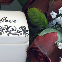 Ceramic Believe Keepsake Box by GrapeVineCeramicsGft on Etsy