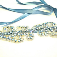 Rhinestone Headband Silver Gray Blue Ribbon by SomethingColorful