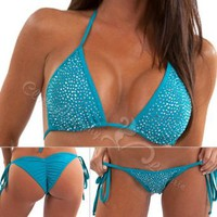 Amazon.com: Sexy Lingerie Bling Crystal Rhinestone String Swimwear Scrunch Butt Bottom Halter Bikini Set One Size Fit Small to Medium Light Blue BCL201 BL: Clothing