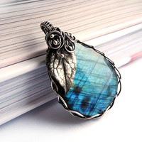 Labradorite Silver Necklace  Hand Made Silver by NurrgulaJewellery