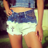 Vintage high waisted ombre denim Cut off Shorts with Studs by Jeansonly