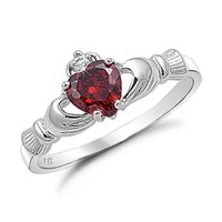Sterling Silver Red Garnet Heart CZ Claddagh Ring - Sizes 4 to 9