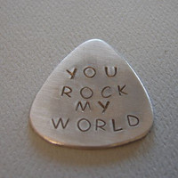 Guitar Pick Handmade Aluminum with You Rock my World by NiciLaskin