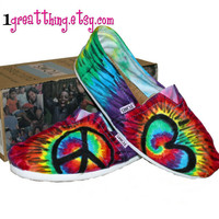 TOMS Tie Dye Shoes - Peace and Love - hand dyed and custom made - by One Great Thing