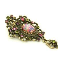 Vintage Faux Fire Opal Brooch and Pendant Combo with Pink Purple and Green Rhinestones by Coventry
