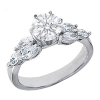 Engagement Ring - Round Diamond Engagement Ring with Marquise Diamonds side stones 0.84 tcw. In 14K White Gold - ES495