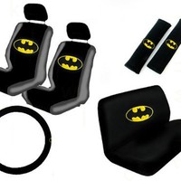 11 Piece Auto Interior Gift Set - Batman Classic Logo - 2 Bottom Seat Covers, 2 Top Seat Covers, 2