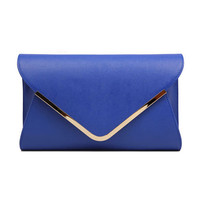 Envelope Shape Leather Clutch Bag