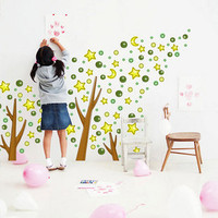 Tree Star Kids Bedroom Wall Background Sticker - GULLEITRUSTMART.COM