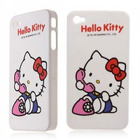 Hello Kitty Making Phone Call Hard Plastic Back Case Cover for iPhone 4 4S (White) Hot Sale At Wholesale Price - Gadgetsdealer.com