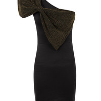 One Shoulder Metallic Effect Bow Bodycon Dress-Black&amp;Gold