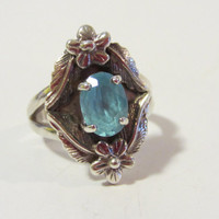 Vintage sterling silver Genuine Blue Topaz ring size 6.75