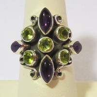 Genuine Amethyst & Peridot 925 sterling silver ring jewelry size 6.25