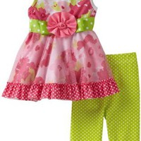 Amazon.com: Youngland Baby-girls Infant Knit Sleeveless Dress With Mesh Overlay And Knit Print Legging, Pink, 12 Months: Clothing