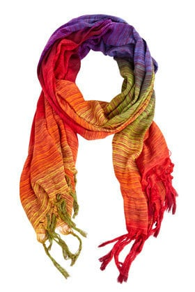 Warehouse item |  MULTI Rainbow Stripe Scarf | Fashion Clothing | Warehouse Fashions