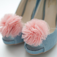 Pale Coral Pink bloom Layered Tulle shoe clips by finkshop on Etsy