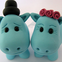 wedding cake topper  turquoise hippos by yaelsplace on Etsy