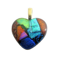 Fused Glass Heart Pendant, Dichroic Heart, Slide Jewelry - One of a Kind - Large Gold Bail - Dreamweaver - 3540