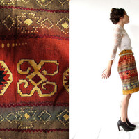 vintage 80s high waisted southwestern pencil skirt