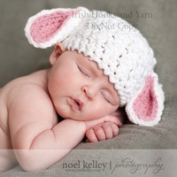 Baby Lamb hat with pink or blue ears in three by IrishHooksAndYarn