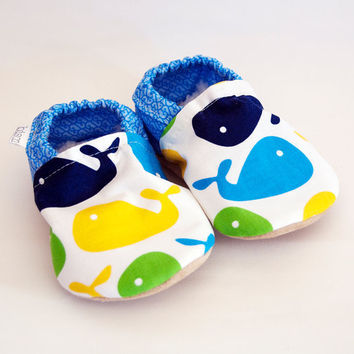 Whale Bison Booties Size 6 to 12 Months Baby Soft by bisongirl