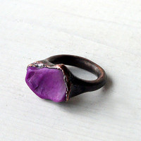 Sugilite Ring Copper Gem Stone Plum Purple Grape by MidwestAlchemy