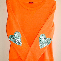 The &quot;Dazzle Patch&quot; Sweatshirt  w/Heart Sequin Elbow Patch