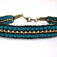 Teal & Bronze Bracelet by DevonVivian on Etsy