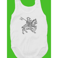 I Knight You Sir... (100% White cotton baby bodysuit with Medieval Knight on a horse print)