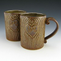 $50.00 Two Personalized Wedding Anniversary Mugs  by TwistedRiverClay