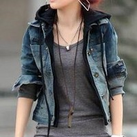 Distressed Denim Crop Jean Jacket