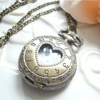 Vintage Jewelry - Vintage Petite Heart Shaped Quartz Locket Watch Necklace - Boxed