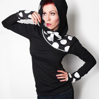 DOTTY-01 black/white Big Dots Hoodie  XS-L