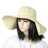 Amazon.com: Allegra K Woman Floppy Cap Wide Brim Braided Straw Summer Beach Sun Hat Beige: Clothing