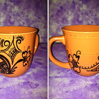 Coffee Mug with Hand Painted Henna Design