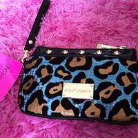 Betsey Johnson Aqua Leopard Sequin Wristlet Clutch Bag