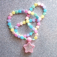 Pastel Rainbow Star Locket Necklace from On Secret Wings