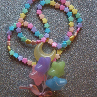 Pastel Rainbow Stars Balloon Necklace from On Secret Wings