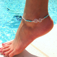 Circle Of Life Anklet with Turquoise