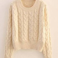 Braided knit sweater in Cream