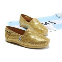 Amazon.com: Free ship Gold Glitter in Toms Women Shoes US SZ Real Toms Brand: Sports & Outdoors